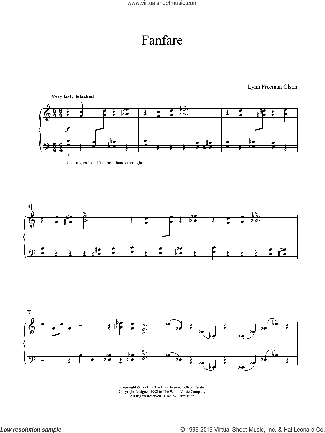 Fanfare sheet music for piano solo (elementary) by Lynn Freeman Olson, classical score, beginner piano (elementary)