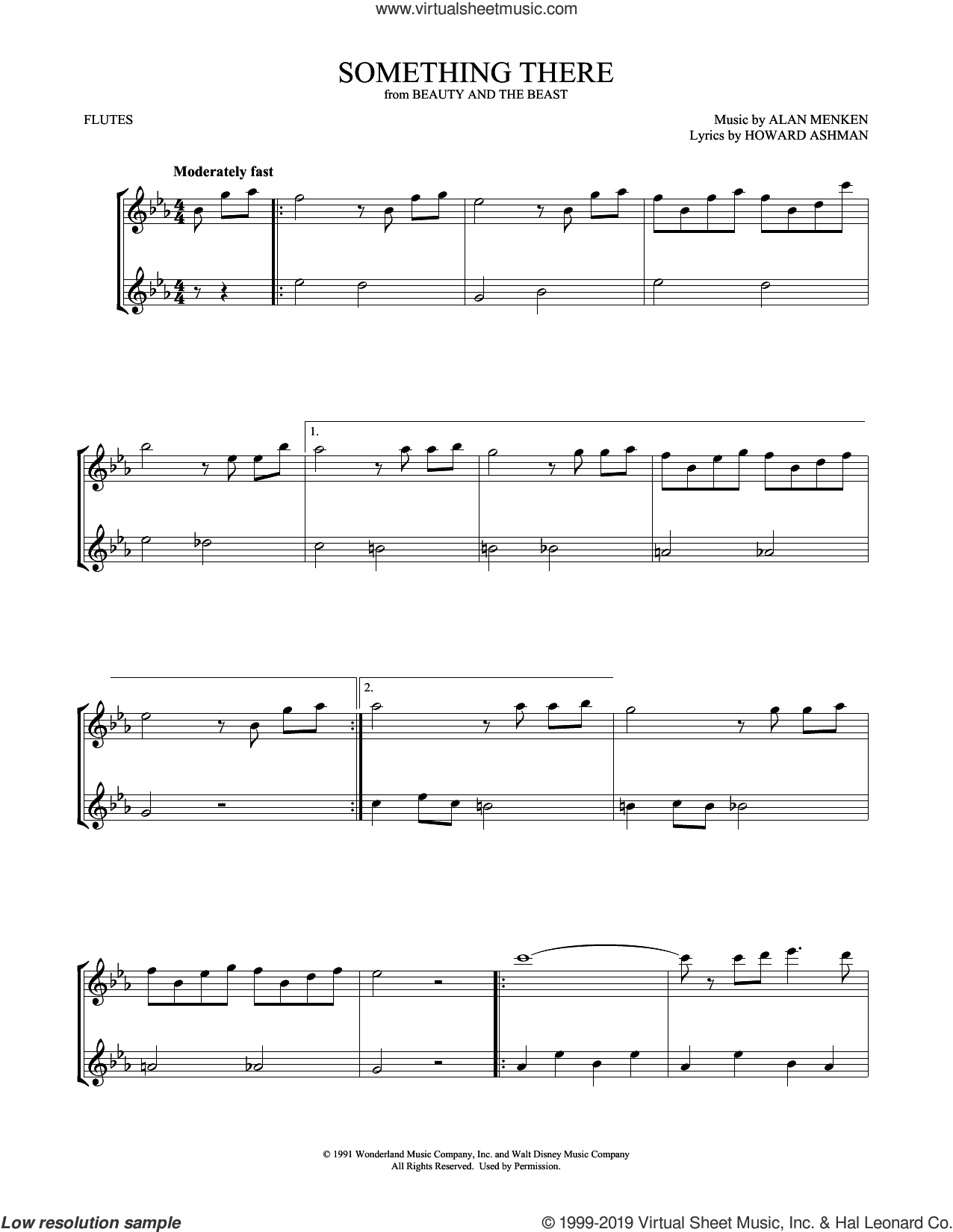 Something There (from Beauty and the Beast) (arr. Mark Phillips) sheet music for two flutes (duets) by Beauty and the Beast Cast, Mark Phillips, Alan Menken and Howard Ashman, intermediate skill level