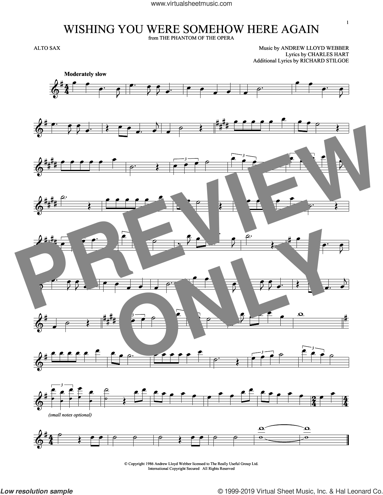 Wishing You Were Somehow Here Again (from The Phantom Of The Opera) sheet music for alto saxophone solo by Andrew Lloyd Webber, Charles Hart and Richard Stilgoe, intermediate skill level