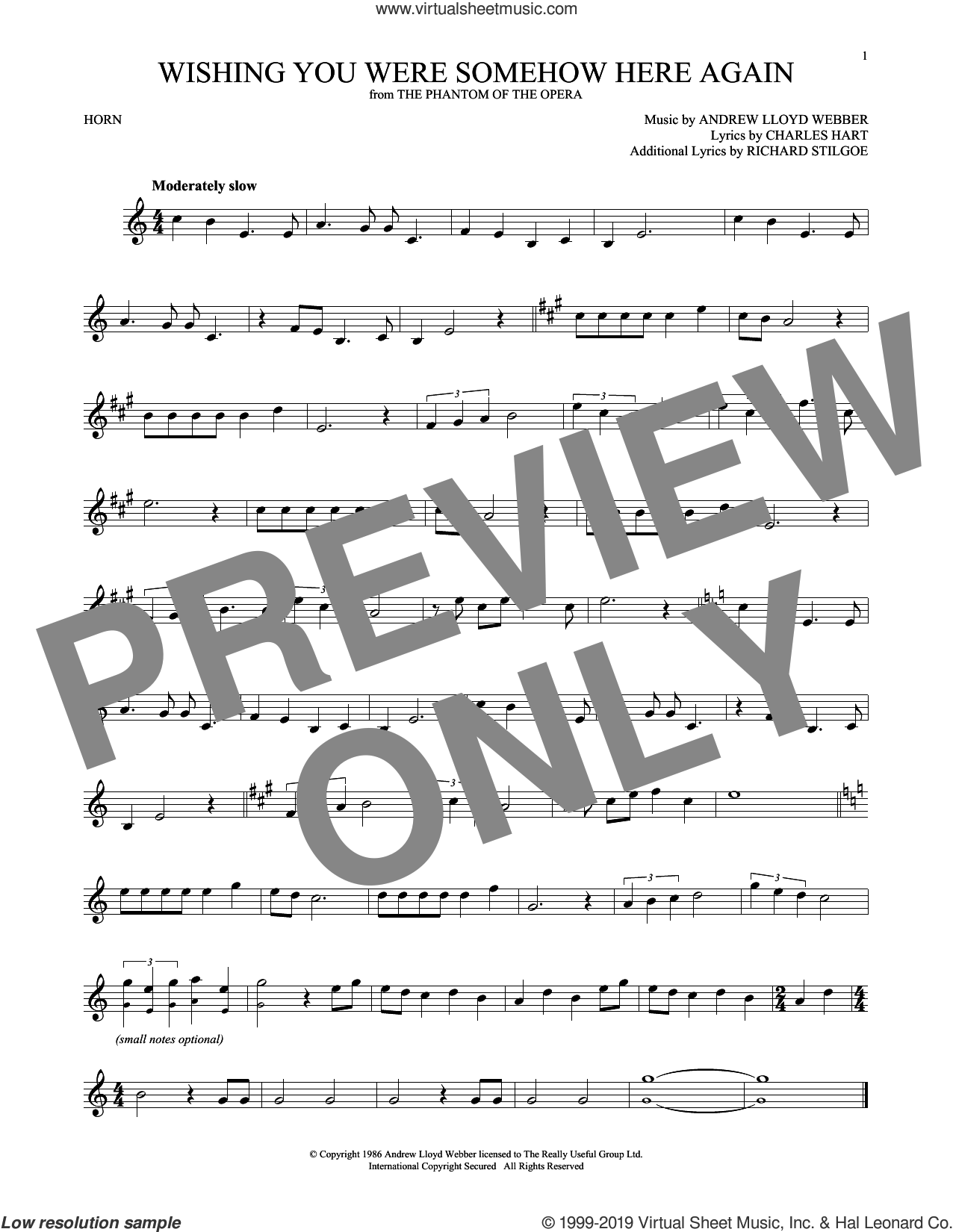 Wishing You Were Somehow Here Again (from The Phantom Of The Opera) sheet music for horn solo by Andrew Lloyd Webber, Charles Hart and Richard Stilgoe, intermediate skill level