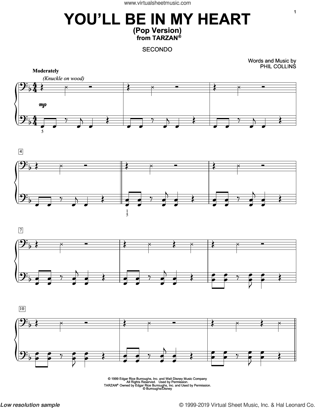 You'll Be In My Heart (Pop Version) (from Tarzan) sheet music for piano four hands by Phil Collins, intermediate skill level