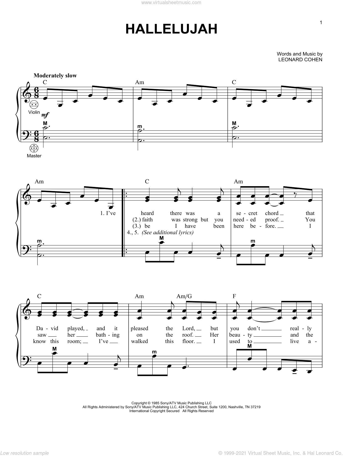Hallelujah sheet music for accordion by Leonard Cohen and Gary Meisner, intermediate skill level
