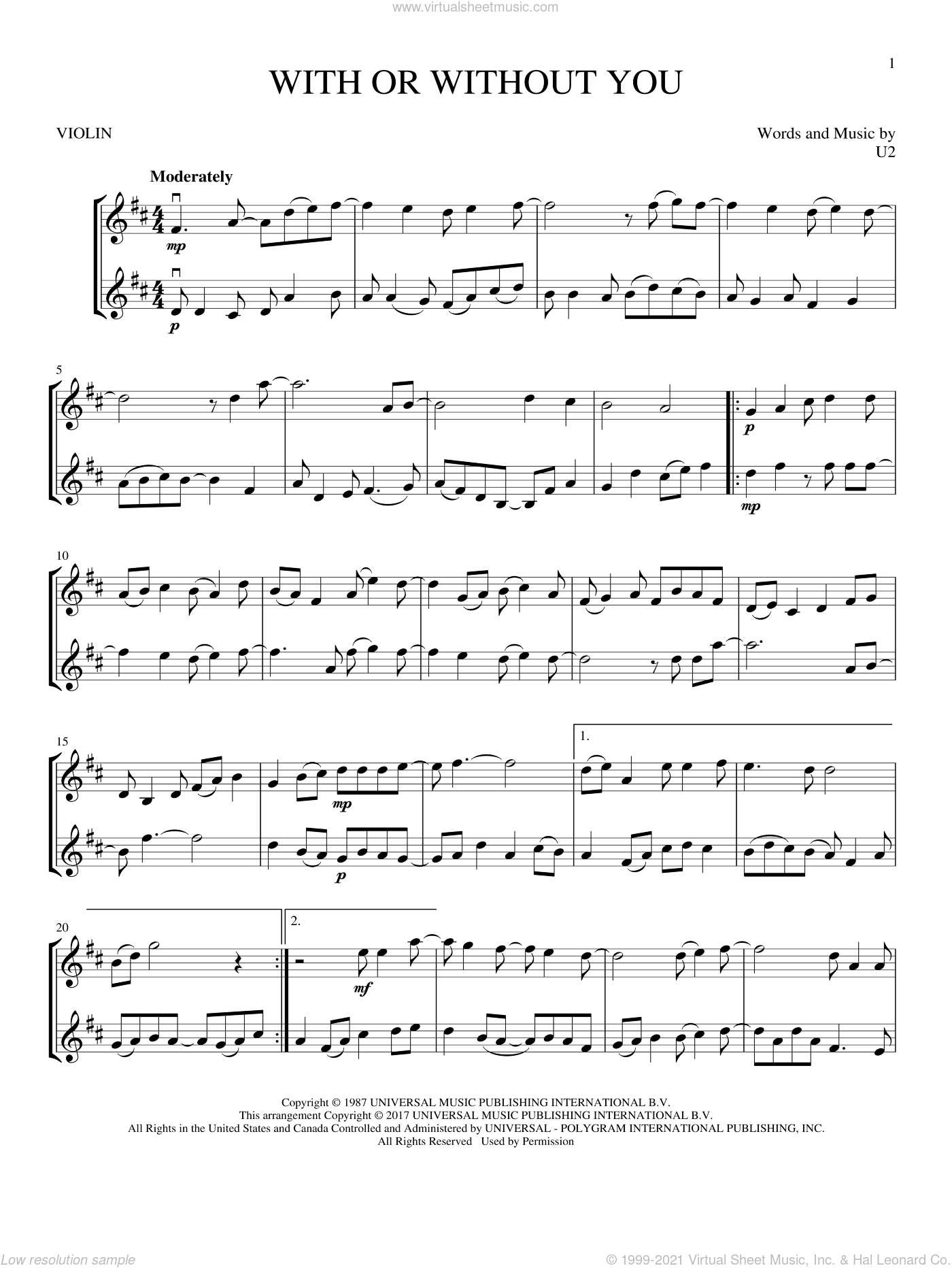 With Or Without You sheet music for two violins (duets, violin duets) by U2, intermediate skill level