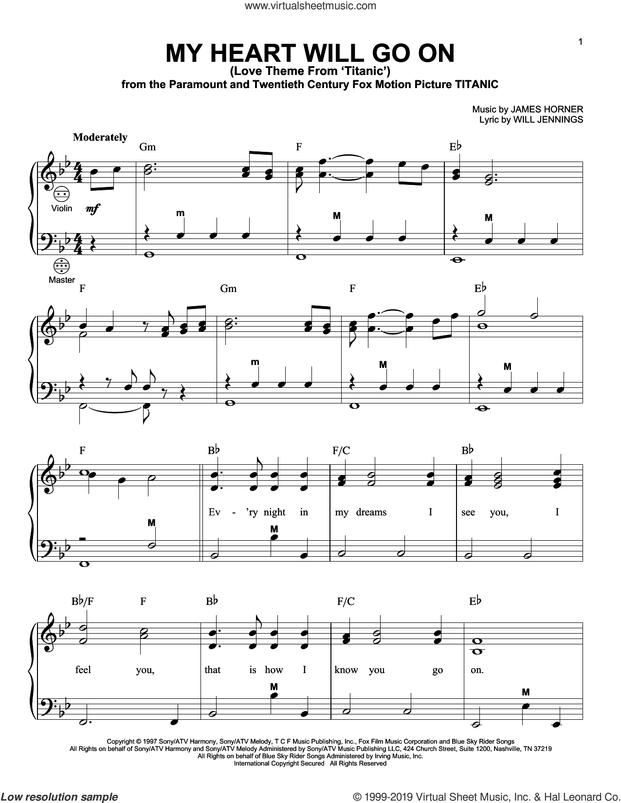 My Heart Will Go On (Love Theme From 'Titanic') sheet music for accordion by Celine Dion, Gary Meisner, James Horner and Will Jennings, intermediate skill level