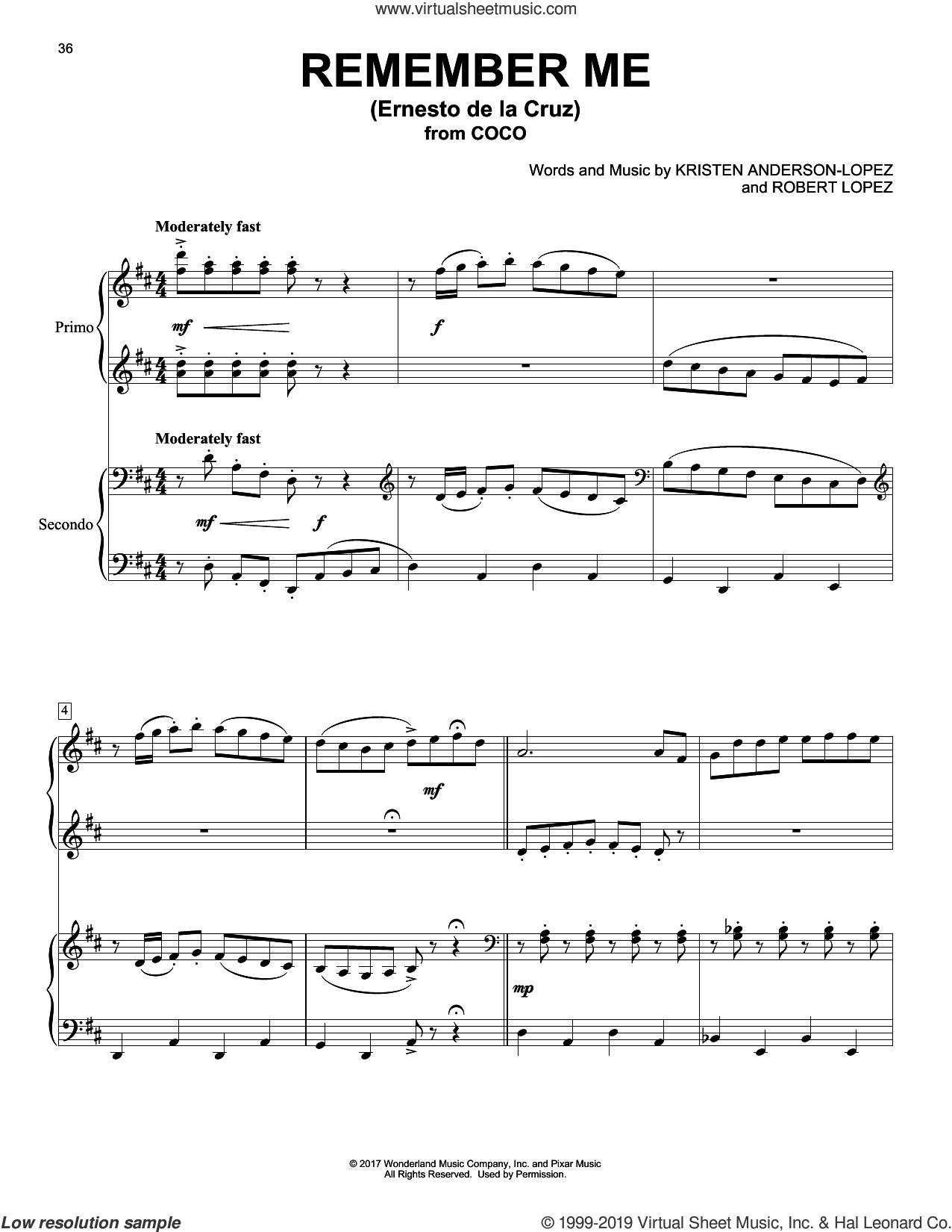 Remember Me (Ernesto de la Cruz) (from Coco) sheet music for piano four hands by Kristen Anderson-Lopez & Robert Lopez, Kristen Anderson-Lopez and Robert Lopez, intermediate skill level