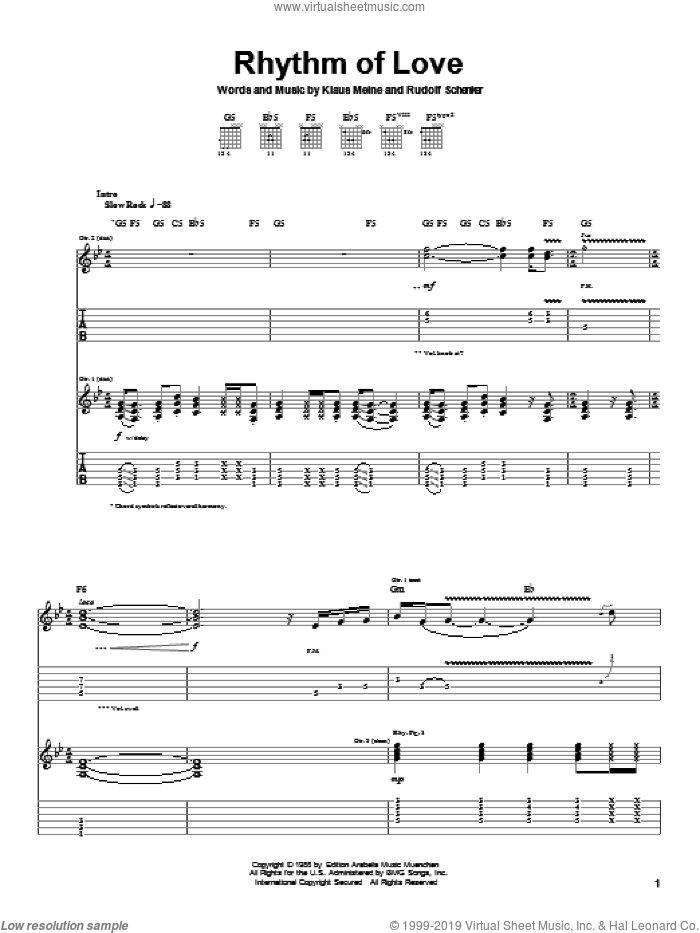 Rhythm Of Love sheet music for guitar (tablature) by Rudolf Schenker, Scorpions and Klaus Meine. Score Image Preview.
