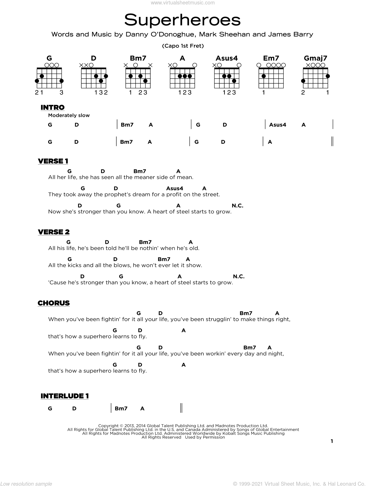 Superheroes sheet music for guitar solo by The Script, James Barry and Mark Sheehan, beginner skill level