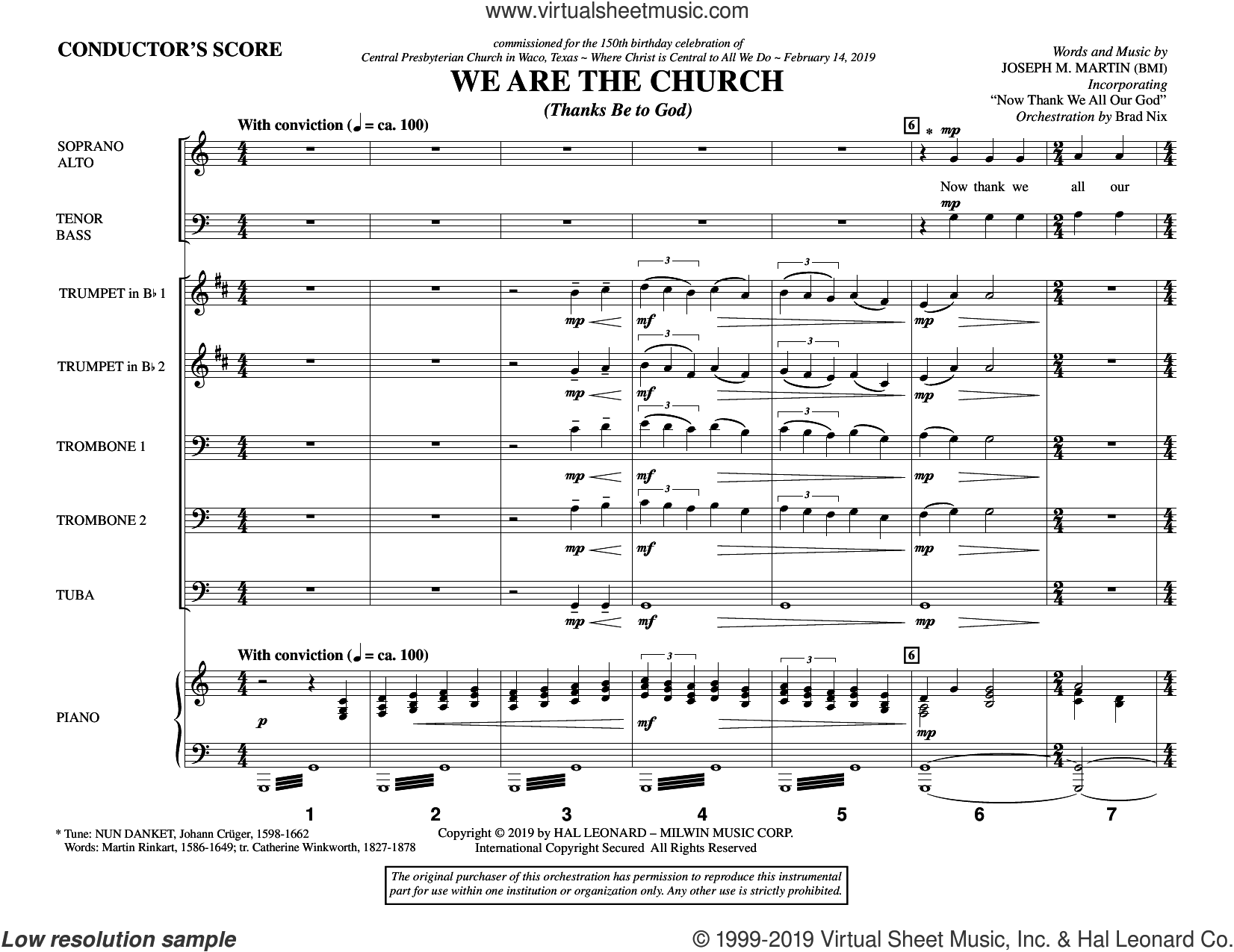 We Are the Church (Thanks Be to God) (COMPLETE) sheet music for orchestra/band by Joseph M. Martin, intermediate skill level