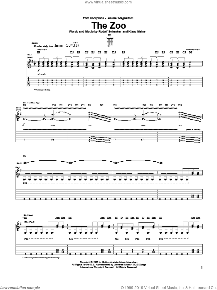 The Zoo sheet music for guitar (tablature) by Scorpions, Klaus Meine and Rudolf Schenker, intermediate skill level