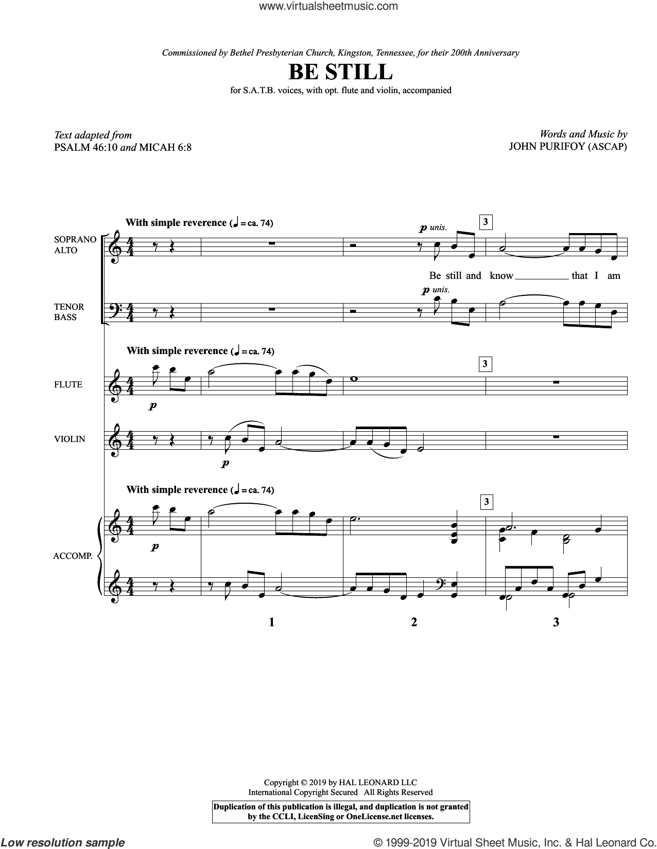 Be Still (COMPLETE) sheet music for orchestra/band by John Purifoy, Micah 6:8 and Psalm 46:10, intermediate skill level