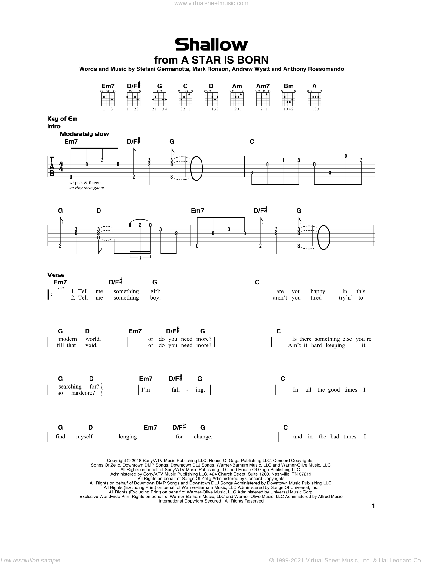 Shallow (from A Star Is Born) sheet music for guitar solo by Lady Gaga & Bradley Cooper, Andrew Wyatt, Anthony Rossomando, Lady Gaga and Mark Ronson, beginner skill level