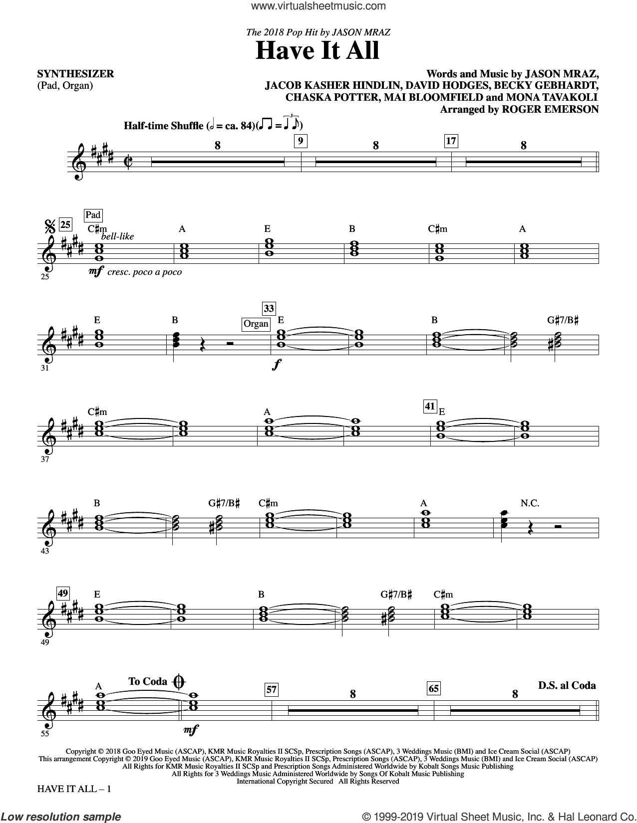 Have It All (arr. Roger Emerson) (complete set of parts) sheet music for orchestra/band by Roger Emerson, Becky Gebhardt, Chaska Potter, David Hodges, Jacob Kasher Hindlin, Jason Mraz, Mai Bloomfield and Mona Tavakoli, intermediate skill level