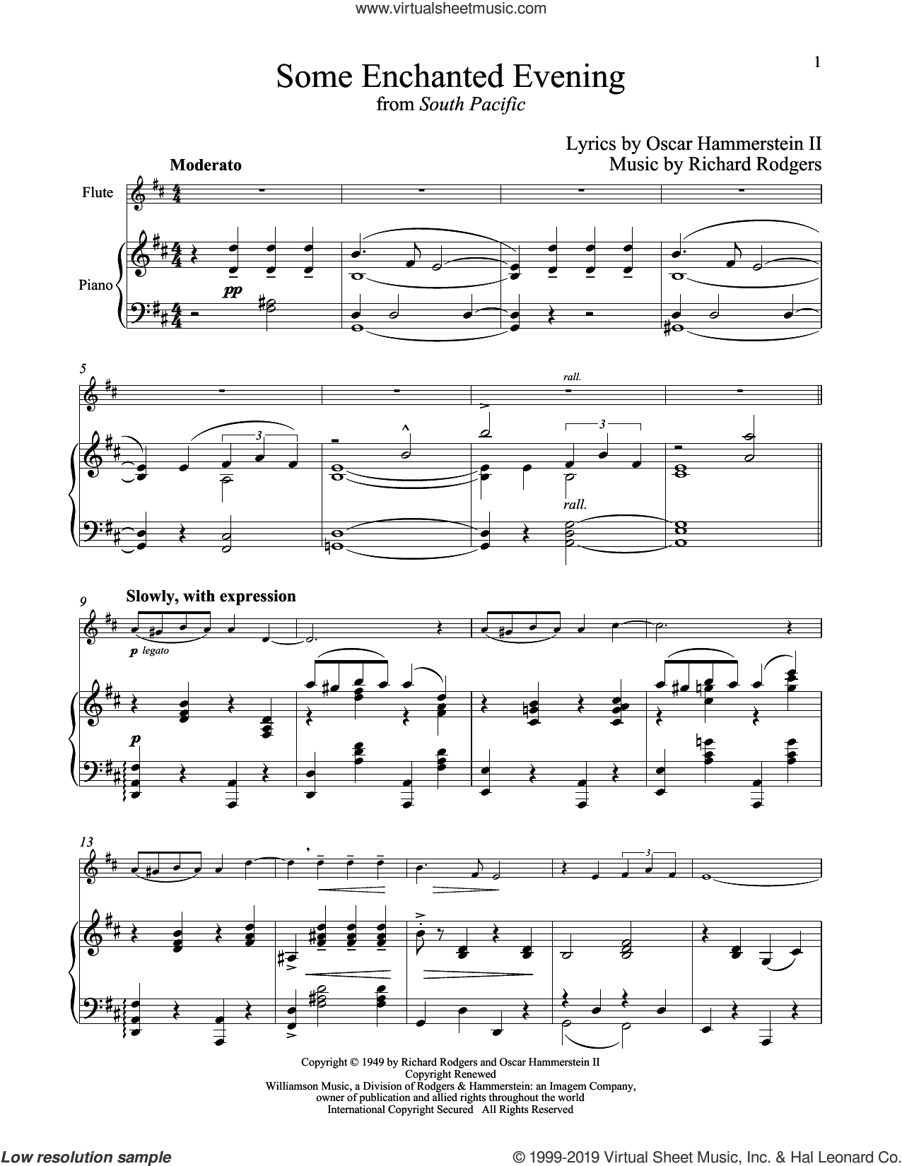Some Enchanted Evening (from South Pacific) sheet music for flute and piano by Richard Rodgers and Oscar II Hammerstein, intermediate skill level