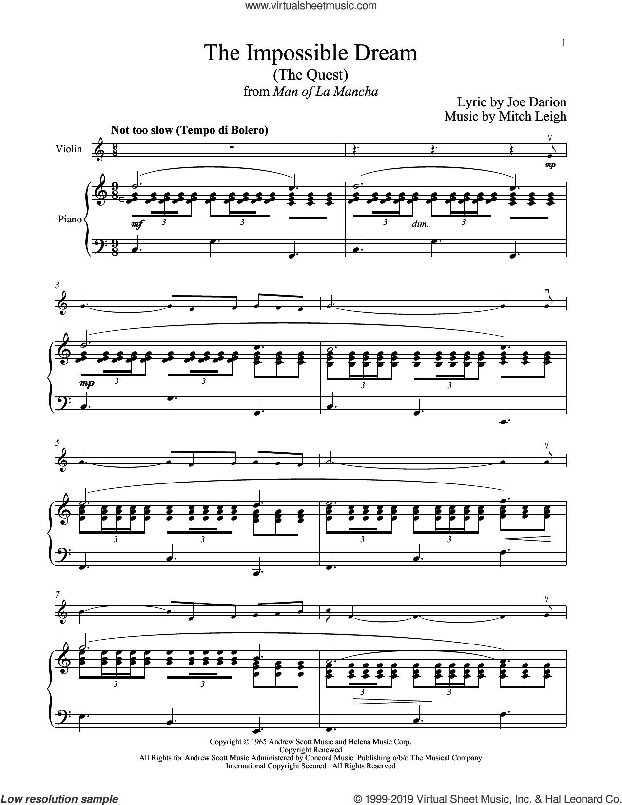 The Impossible Dream (The Quest) (from Man Of La Mancha) sheet music for violin and piano by Mitch Leigh and Joe Darion, intermediate skill level