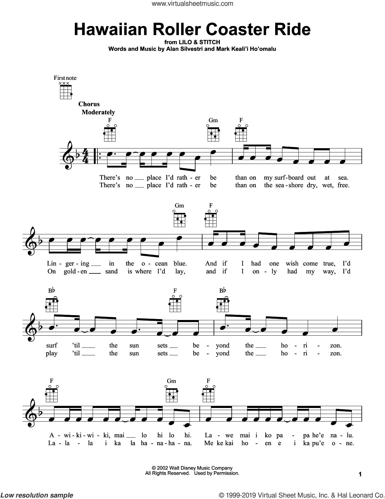 Hawaiian Roller Coaster Ride (from Lilo and Stitch) sheet music for ukulele by Alan Silvestri, intermediate skill level
