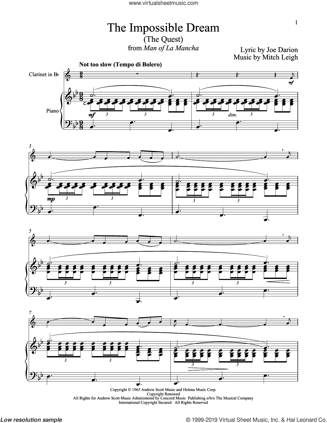 The Impossible Dream (The Quest) (from Man Of La Mancha) sheet music for clarinet and piano by Mitch Leigh and Joe Darion, intermediate skill level