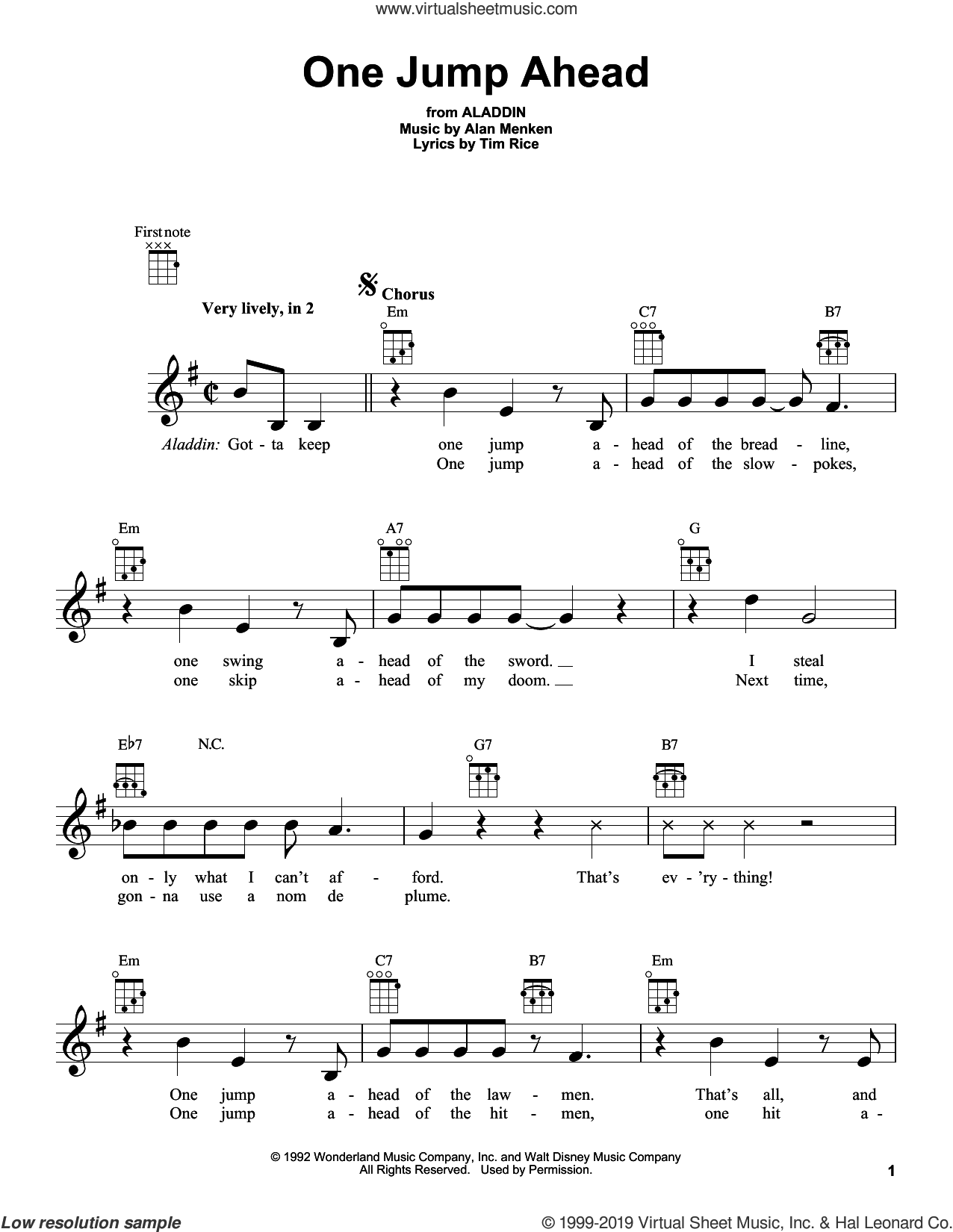 One Jump Ahead (from Aladdin) sheet music for ukulele by Alan Menken and Tim Rice, intermediate skill level