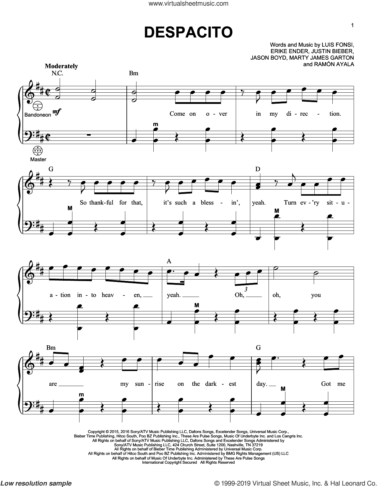Despacito (feat. Justin Bieber) sheet music for accordion by Luis Fonsi & Daddy Yankee, Gary Meisner, Luis Fonsi & Daddy Yankee feat. Justin Bieber, Erika Ender, Luis Fonsi and Ramon Ayala, intermediate skill level