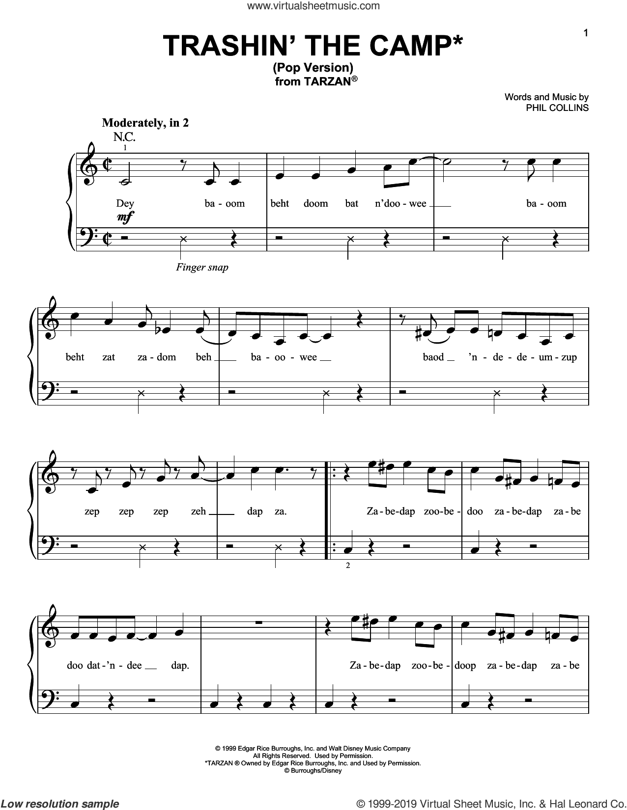 Trashin' The Camp (from Tarzan) (Pop Version) sheet music for piano solo by Phil Collins, beginner skill level