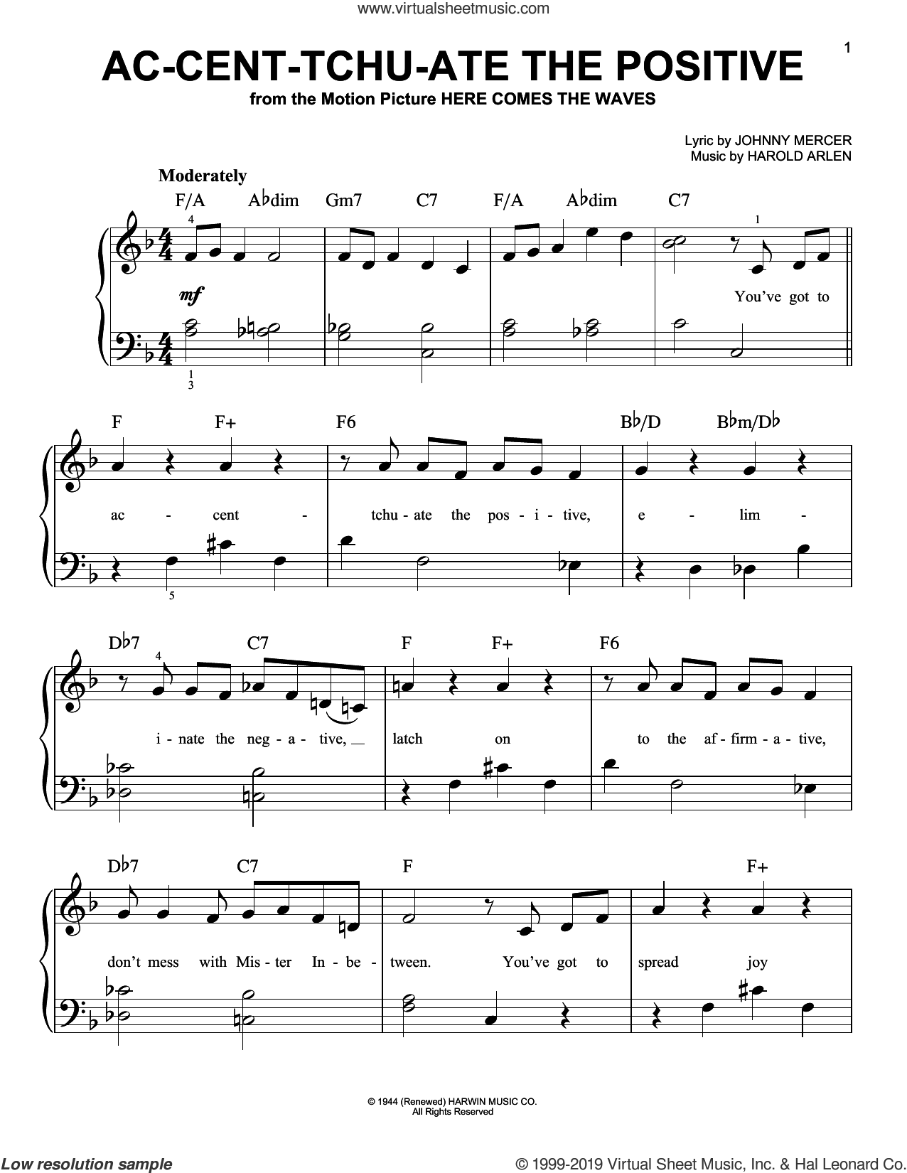 Ac-cent-tchu-ate The Positive sheet music for piano solo by Harold Arlen and Johnny Mercer, easy skill level
