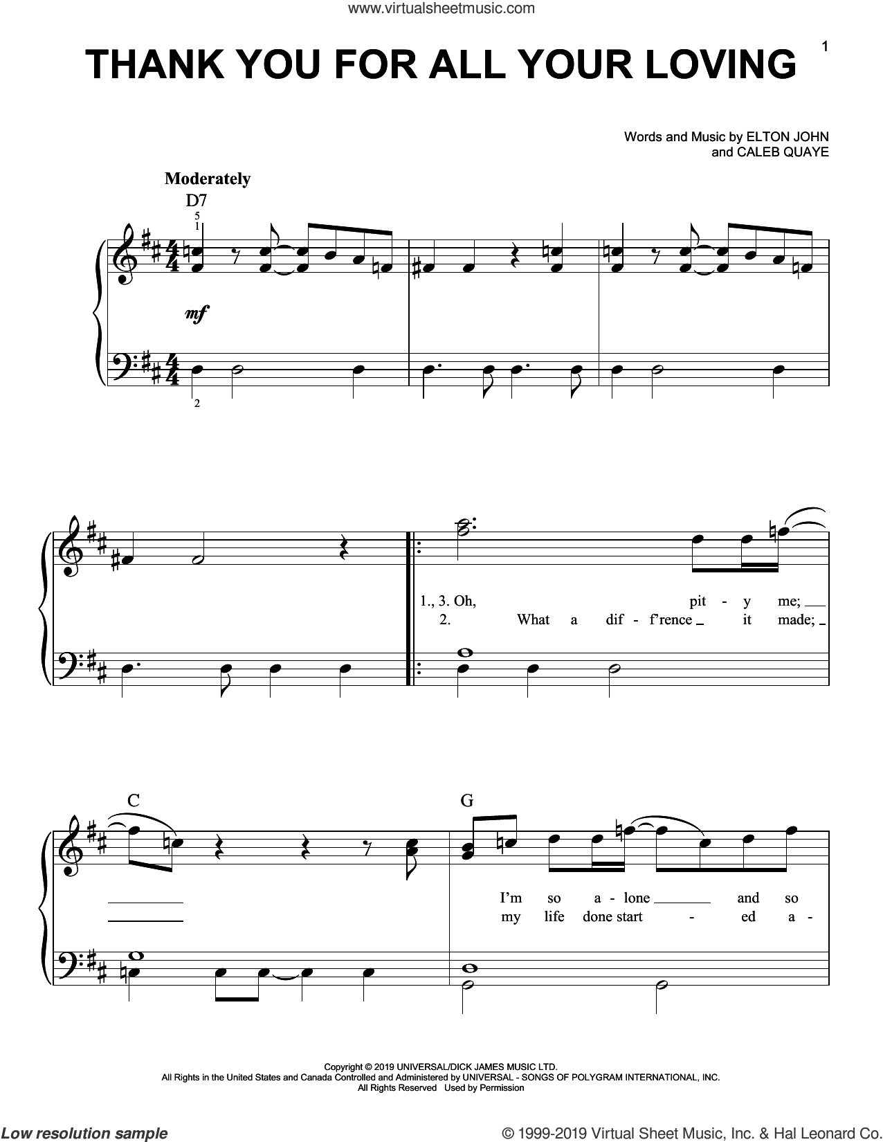Thank You For All Your Loving (from Rocketman) sheet music for piano solo by Taron Egerton, Caleb Quaye and Elton John, easy skill level