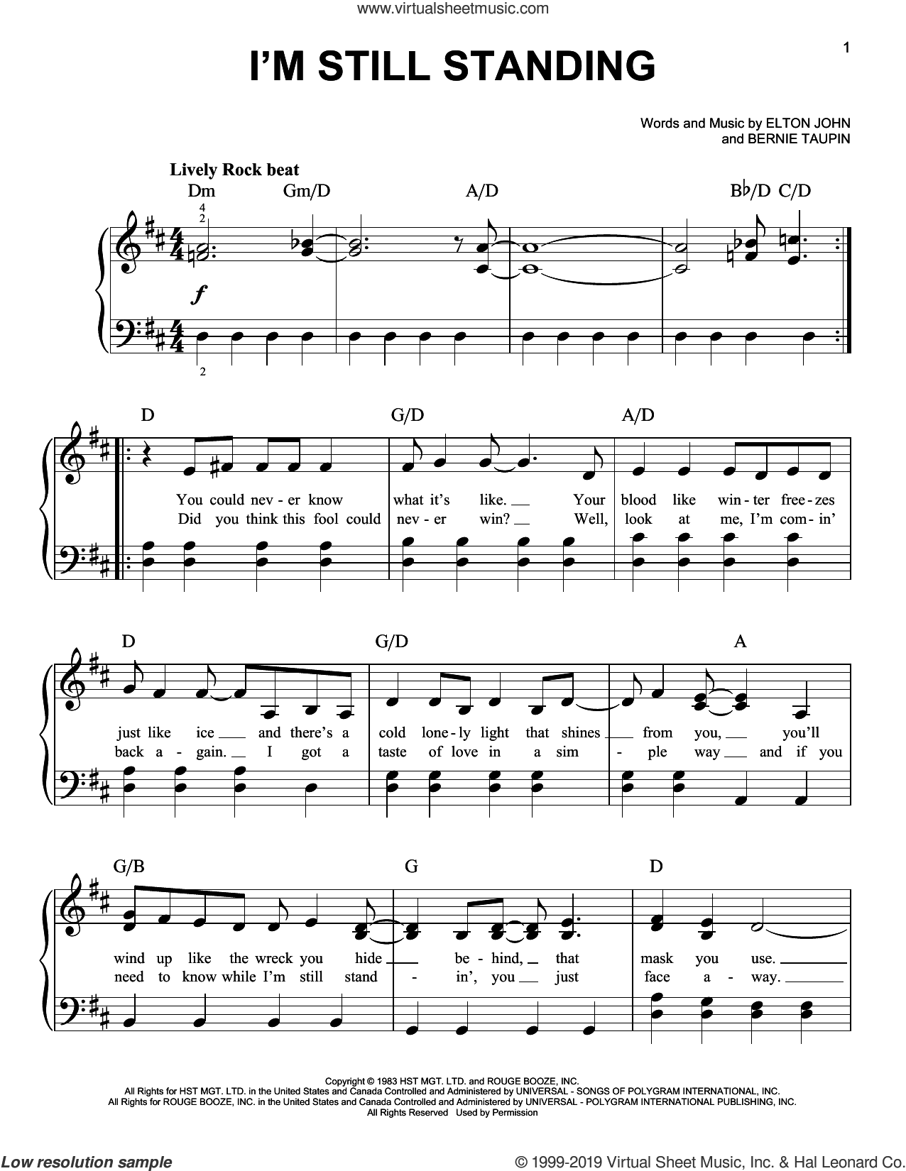 I'm Still Standing (from Rocketman) sheet music for piano solo by Taron Egerton, Bernie Taupin and Elton John, easy skill level