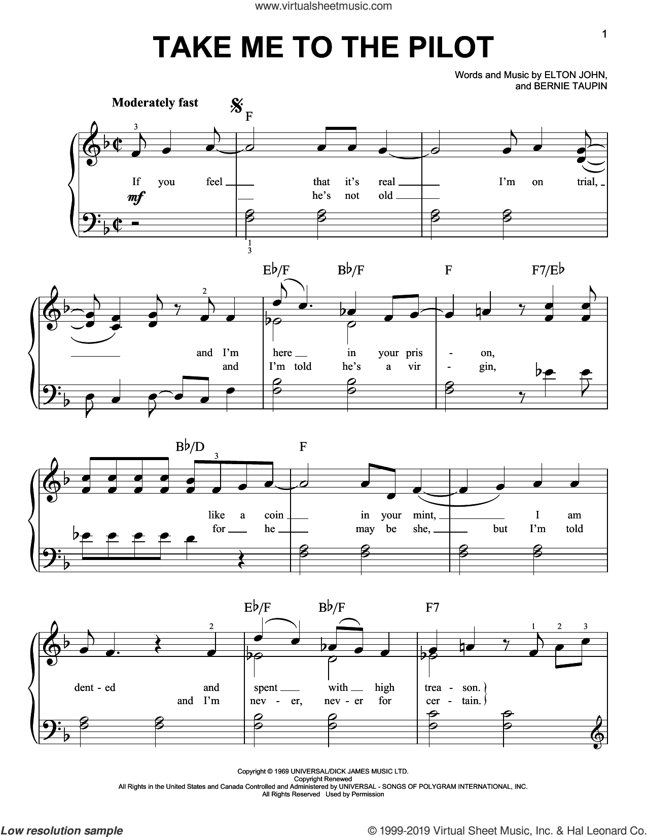 Take Me To The Pilot (from Rocketman) sheet music for piano solo by Taron Egerton, Bernie Taupin and Elton John, easy skill level