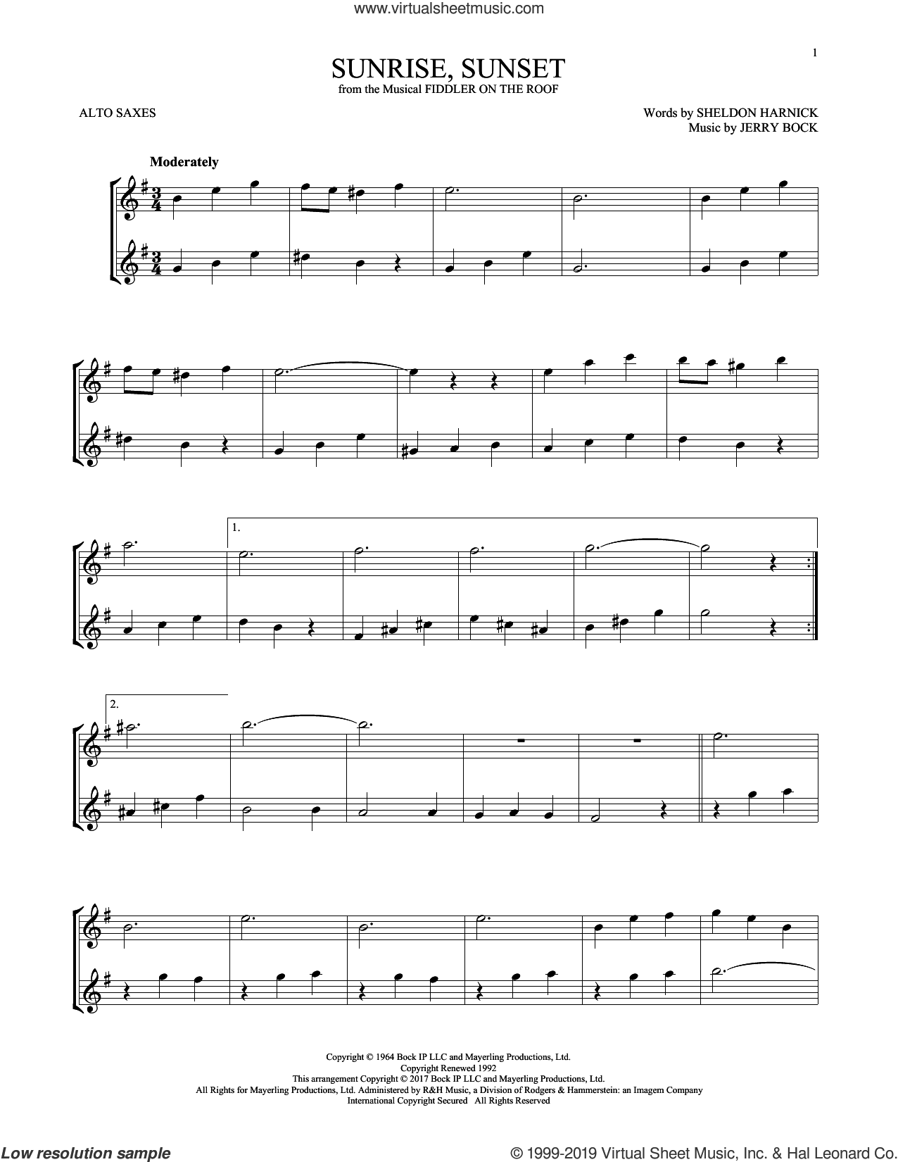 Sunrise, Sunset (from Fiddler On The Roof) sheet music for two alto saxophones (duets) by Jerry Bock and Sheldon Harnick, intermediate skill level