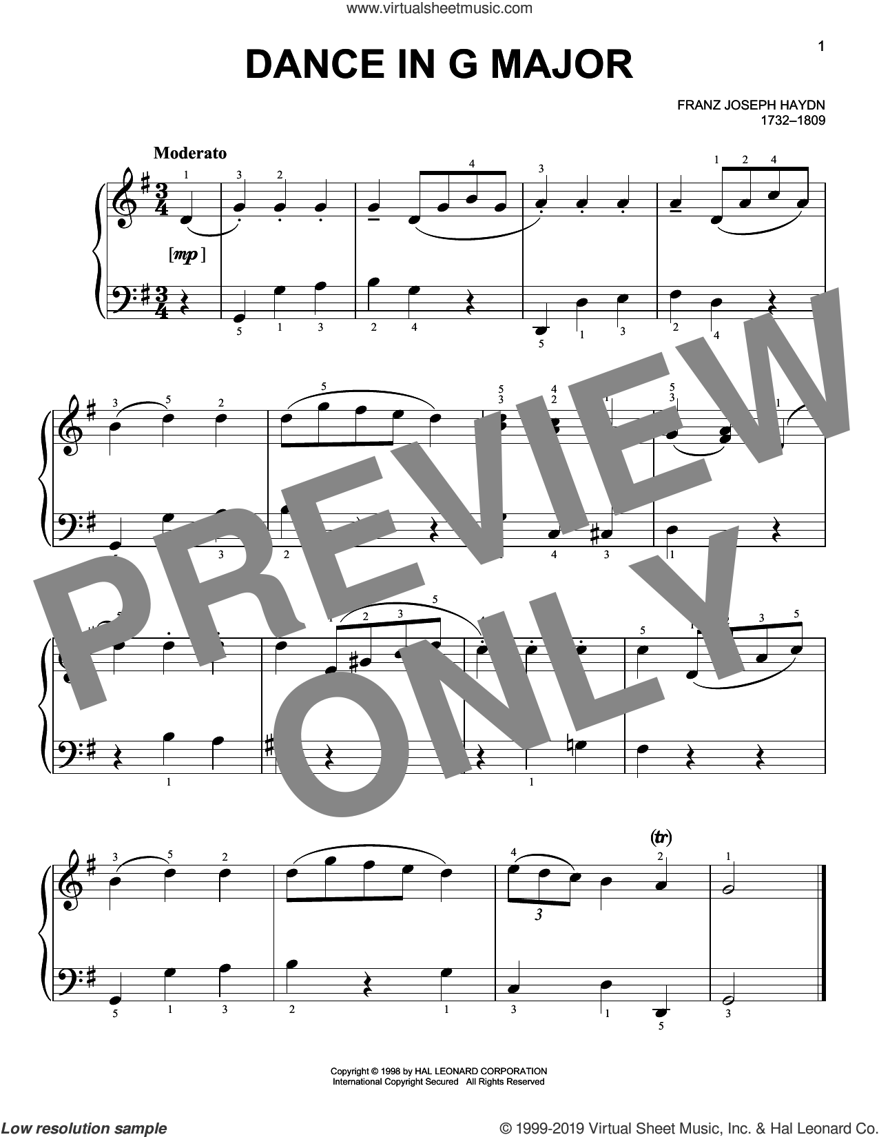 Dance In G Major sheet music for piano solo by Franz Joseph Haydn, classical score, easy skill level