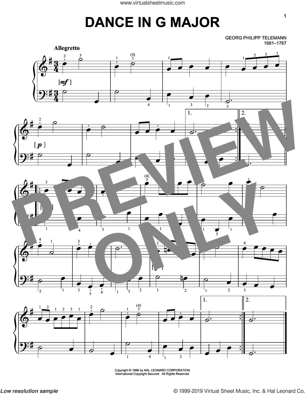 Dance sheet music for piano solo by Georg Philipp Telemann, classical score, easy skill level
