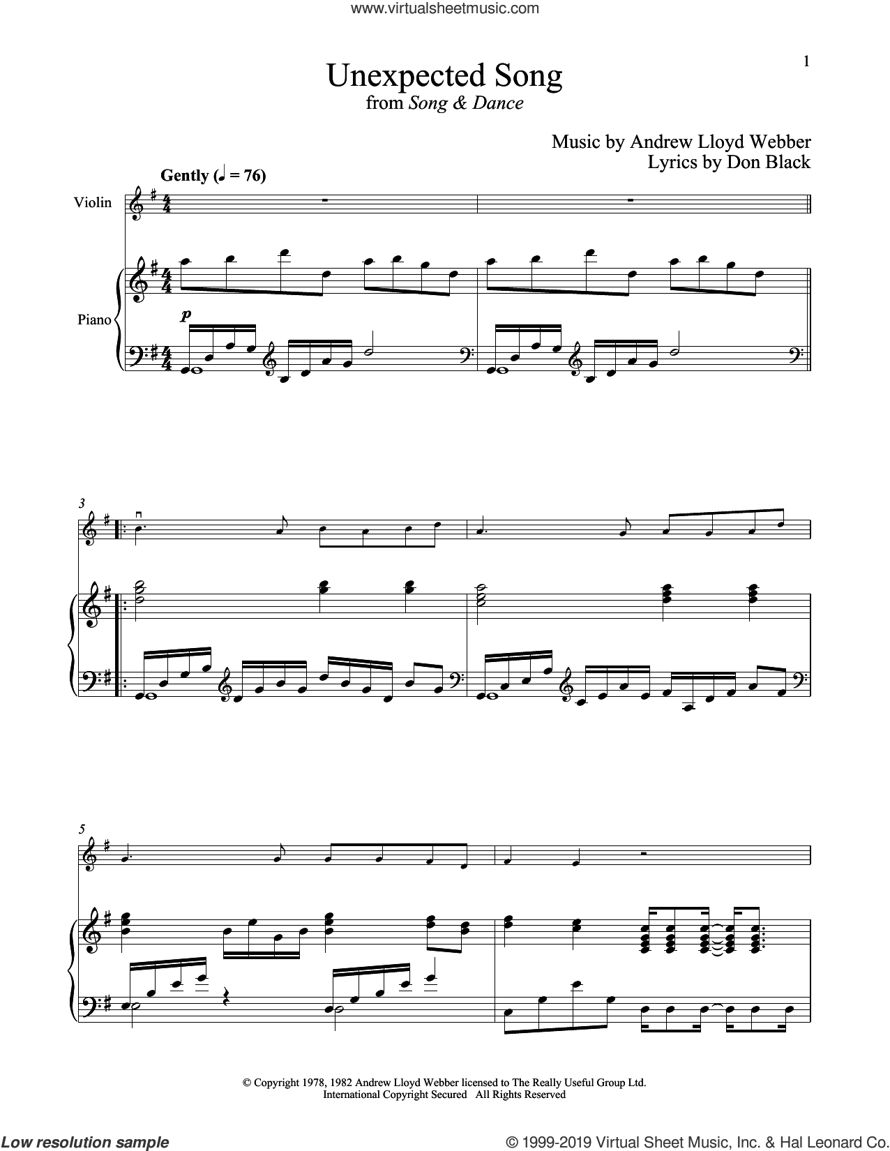 Unexpected Song (from Song and Dance) sheet music for violin and piano by Bernadette Peters, Andrew Lloyd Webber and Don Black, intermediate skill level