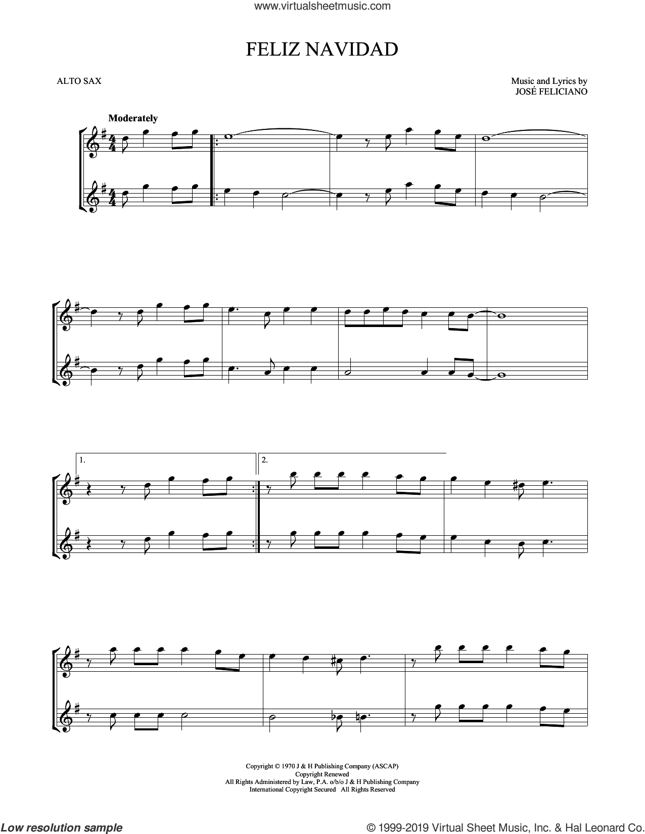 Feliz Navidad sheet music for two alto saxophones (duets) by Jose Feliciano, intermediate skill level