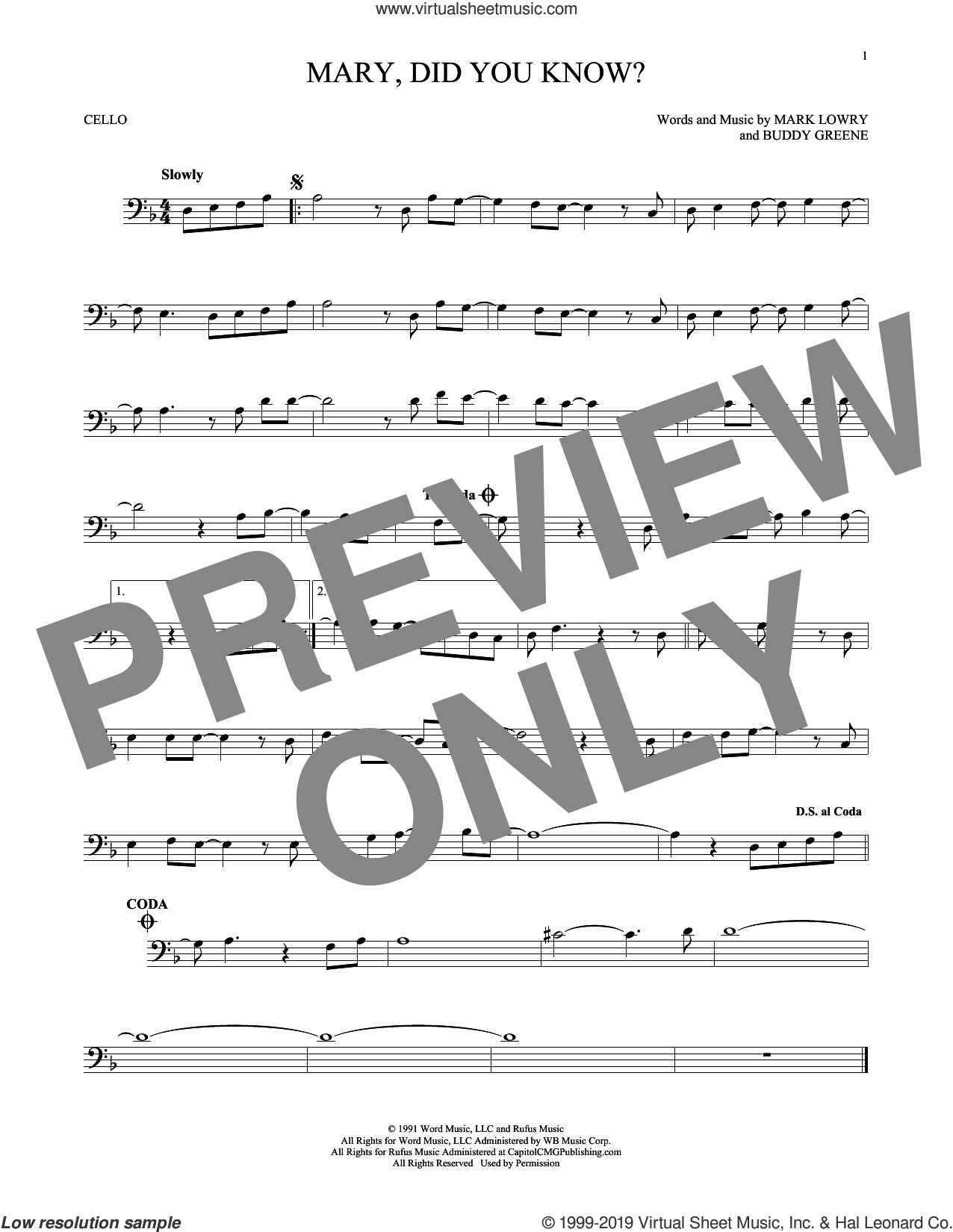 Mary, Did You Know? sheet music for cello solo by Buddy Greene and Mark Lowry, intermediate skill level