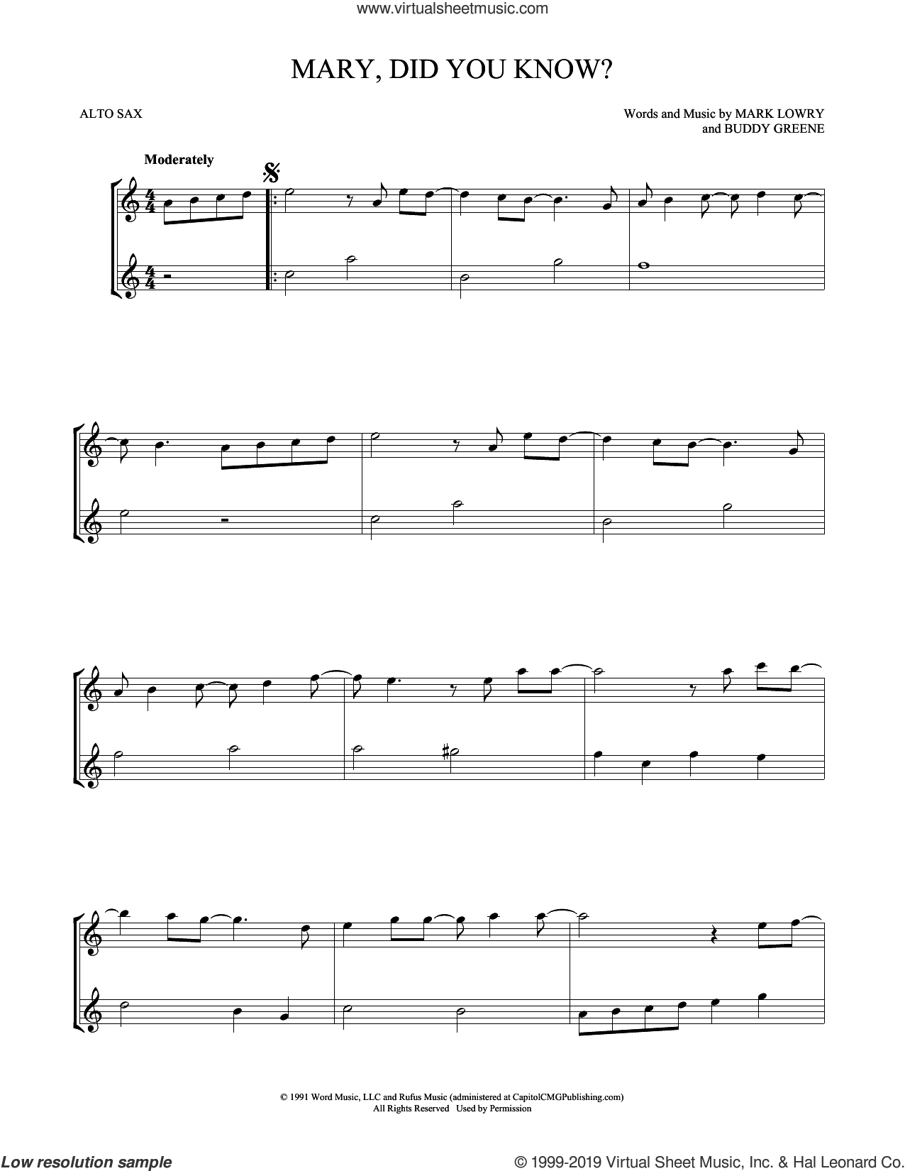 Mary, Did You Know? sheet music for two alto saxophones (duets) by Buddy Greene and Mark Lowry, intermediate skill level