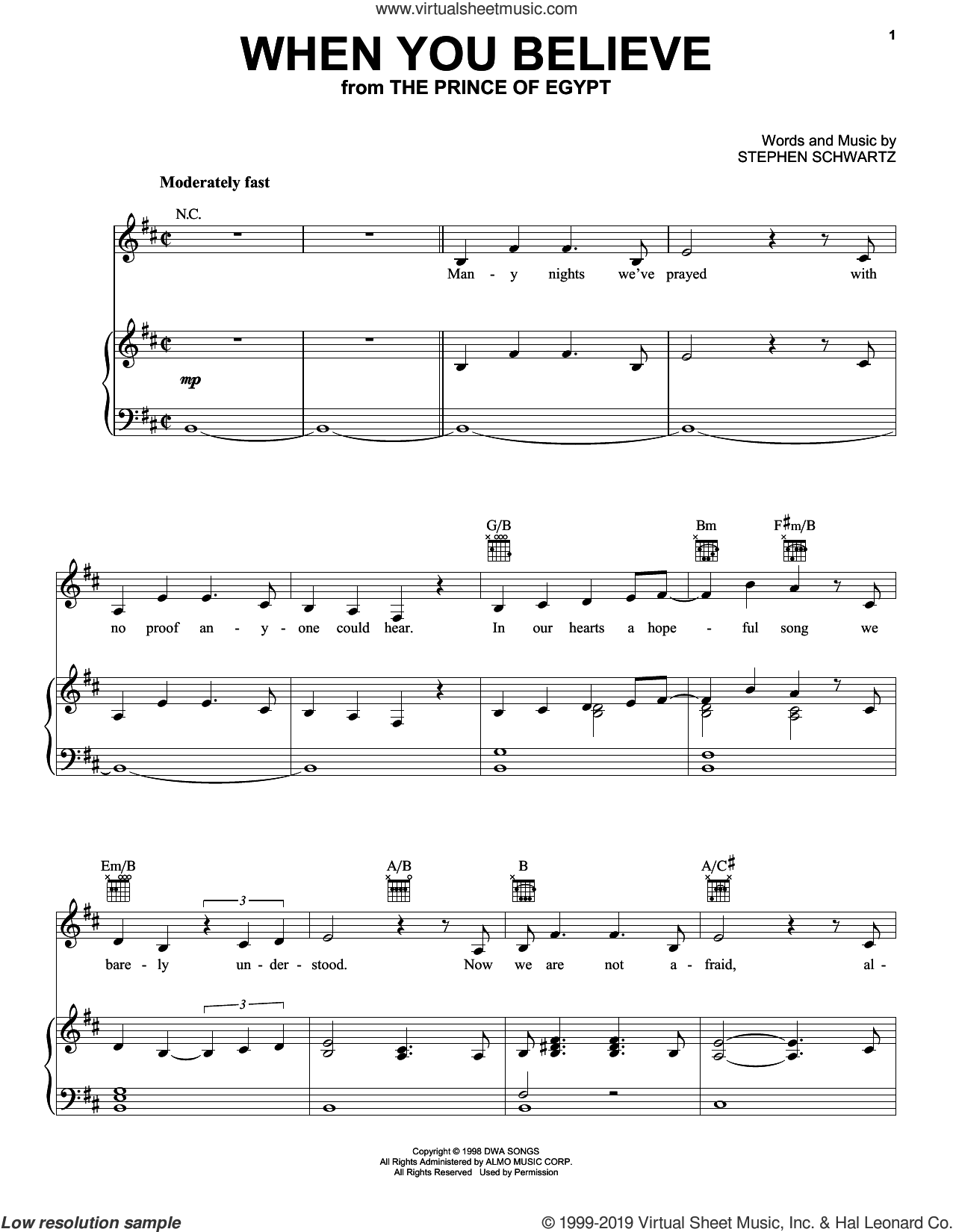 When You Believe (from The Prince Of Egypt) sheet music for voice, piano or guitar by Pentatonix and Stephen Schwartz, intermediate skill level
