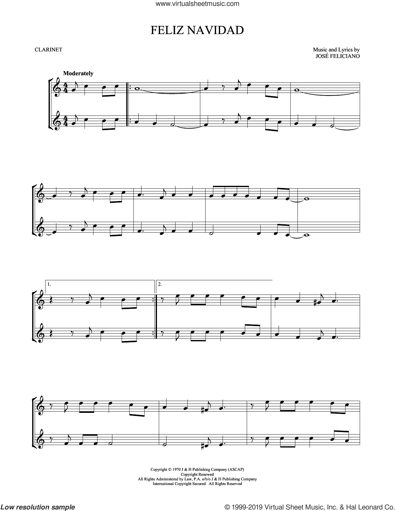 Feliz Navidad sheet music for two clarinets (duets) by Jose Feliciano, intermediate skill level