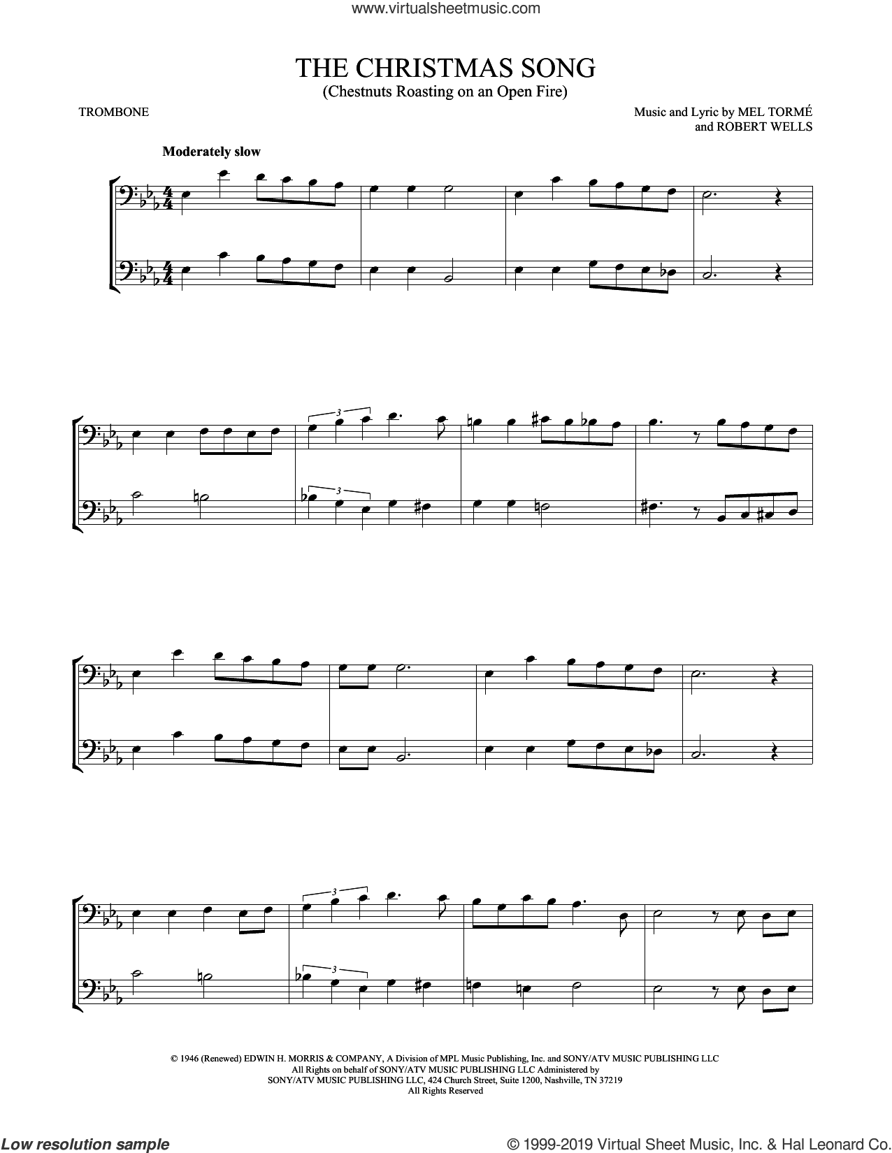 The Christmas Song (Chestnuts Roasting On An Open Fire) sheet music for two trombones (duet, duets) by Mel Torme and Robert Wells, intermediate skill level