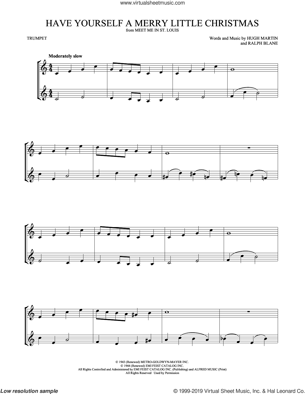 Have Yourself A Merry Little Christmas sheet music for two trumpets (duet, duets) by Hugh Martin and Ralph Blane, intermediate skill level