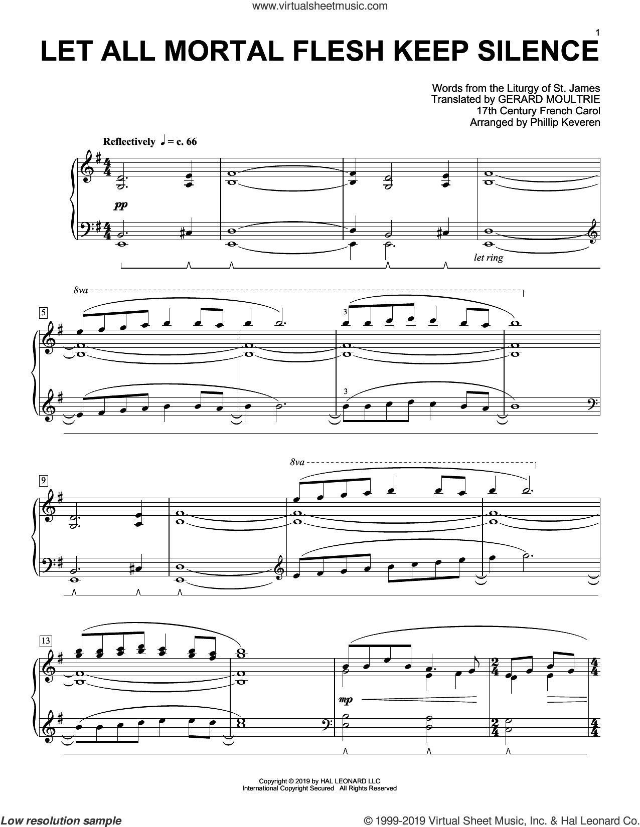Let All Mortal Flesh Keep Silence [Classical version] (arr. Phillip Keveren) sheet music for piano solo , Phillip Keveren, Gerard Moultrie and Liturgy Of St. James, classical score, intermediate skill level