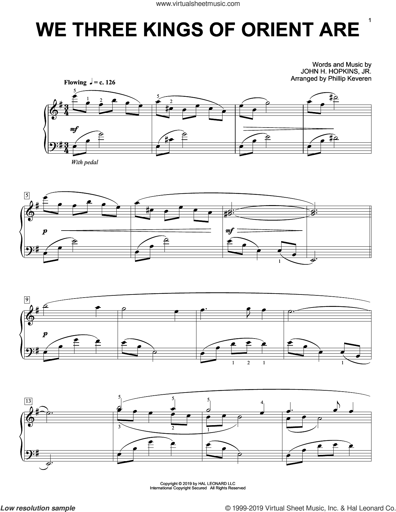 We Three Kings Of Orient Are [Classical version] (arr. Phillip Keveren) sheet music for piano solo by John H. Hopkins, Jr. and Phillip Keveren, intermediate skill level