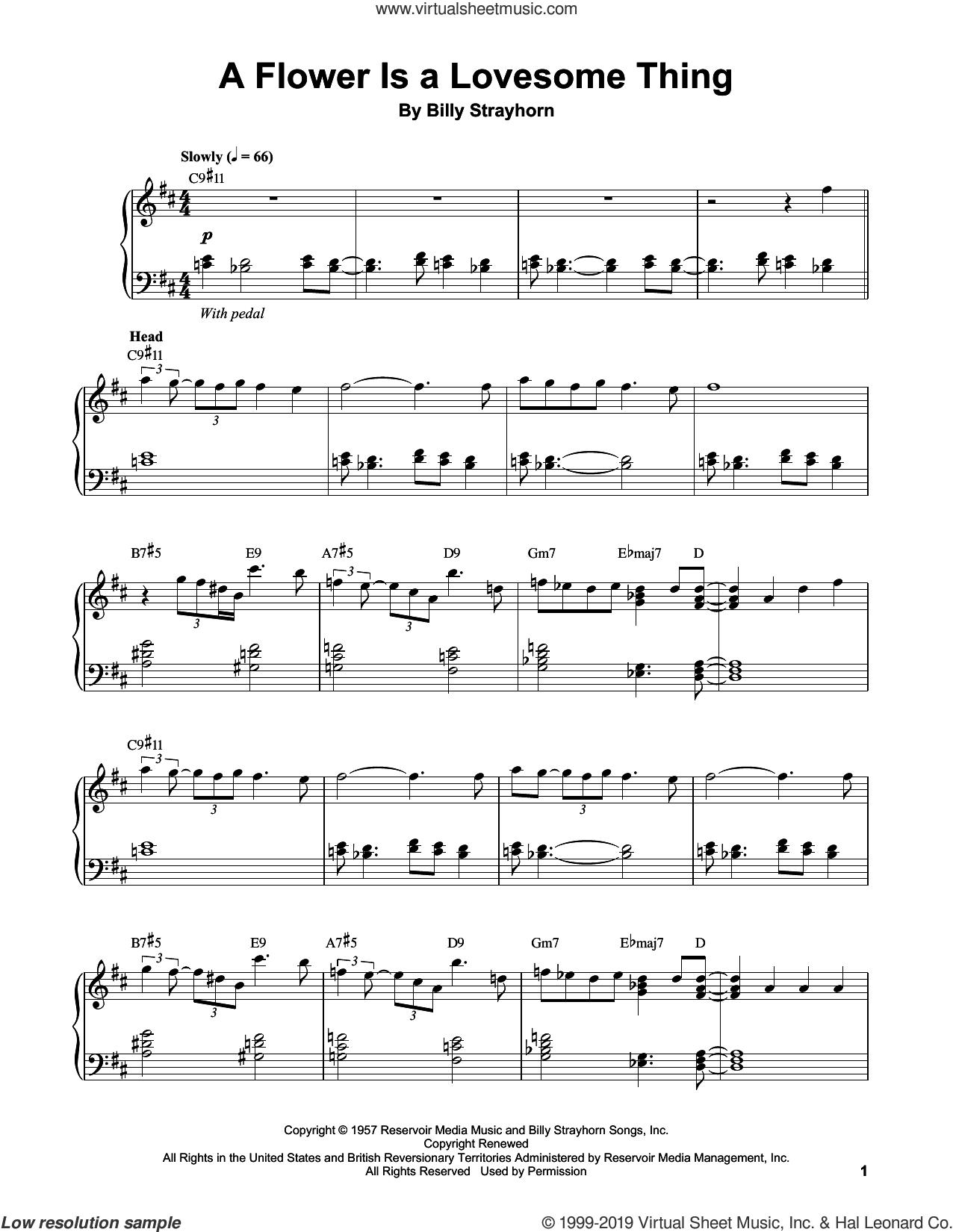 A Flower Is A Lovesome Thing sheet music for piano solo (transcription) by Vince Guaraldi and Billy Strayhorn, intermediate piano (transcription)