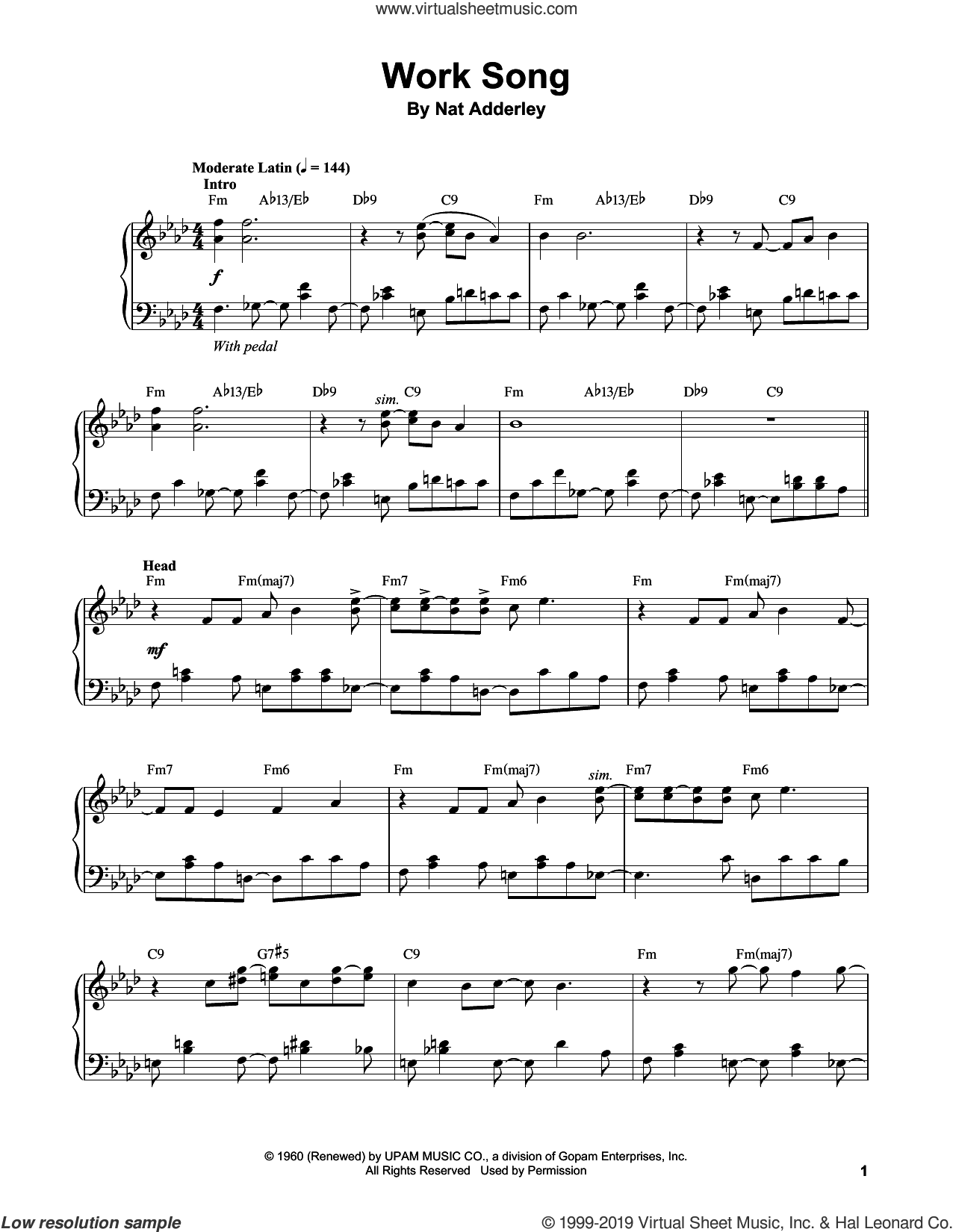 Work Song sheet music for piano solo (transcription) by Vince Guaraldi, Nat Adderley and Oscar Brown, Jr., intermediate piano (transcription)