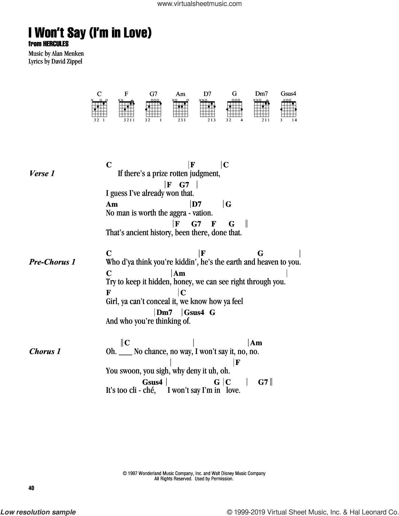 I Won't Say (I'm In Love) (from Hercules) sheet music for guitar (chords) by Alan Menken and David Zippel, intermediate skill level