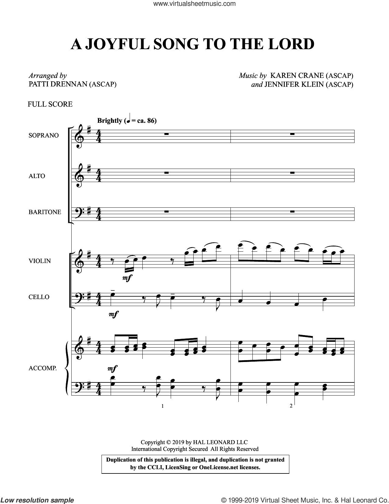 A Joyful Song to the Lord (arr. Patti Drennan) (COMPLETE) sheet music for orchestra/band by Karen Crane & Jennifer Klein, Jennifer Klein, Karen Crane and Patti Drennan, intermediate skill level