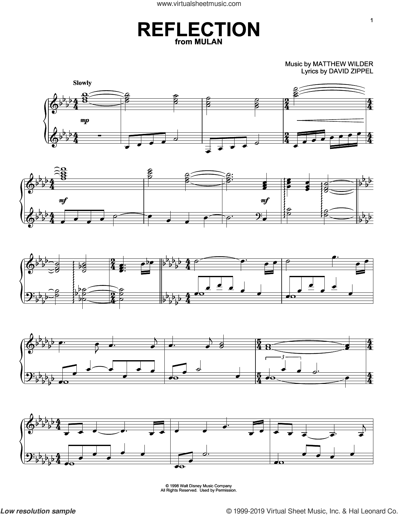 Reflection (from Mulan) sheet music for piano solo by David Zippel and Matthew Wilder, intermediate skill level