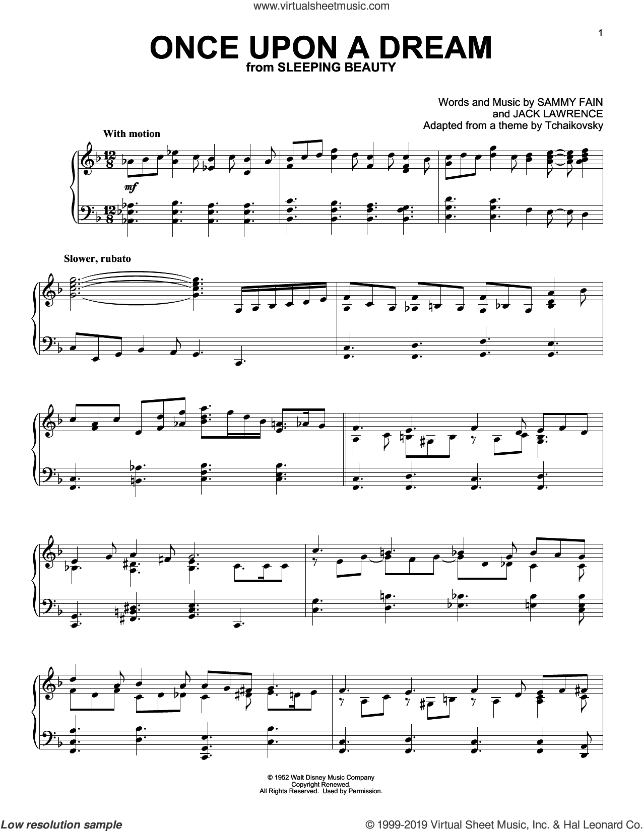 Once Upon A Dream (from Sleeping Beauty) sheet music for piano solo by Sammy Fain and Jack Lawrence, intermediate skill level