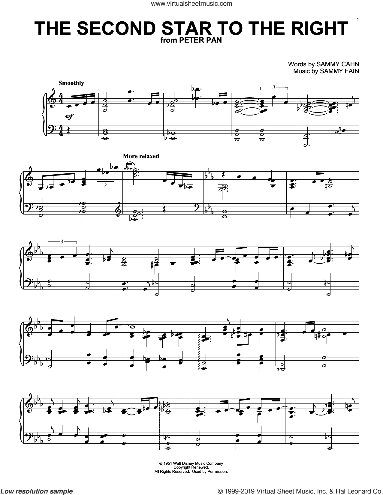 The Second Star To The Right (from Peter Pan) sheet music for piano solo by Sammy Fain and Sammy Cahn, intermediate skill level
