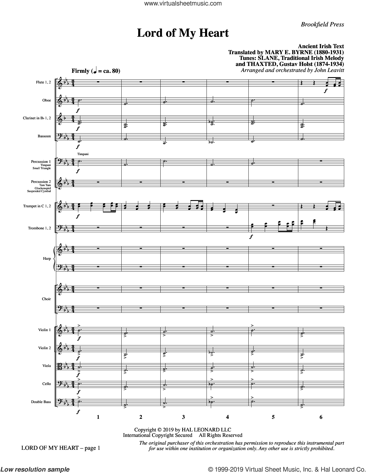 Lord of My Heart (COMPLETE) sheet music for orchestra/band by John Leavitt, Mary E. Byrne (trans.) and Traditional Irish, intermediate skill level