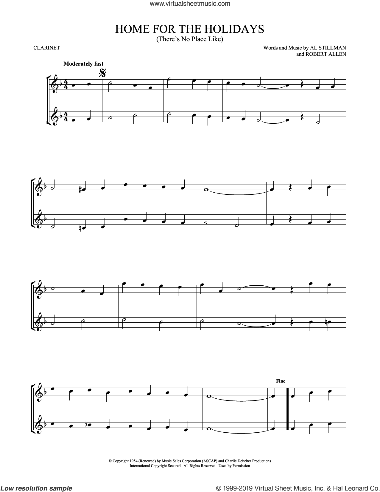 (There's No Place Like) Home For The Holidays sheet music for two clarinets (duets) by Perry Como, Al Stillman and Robert Allen, intermediate skill level