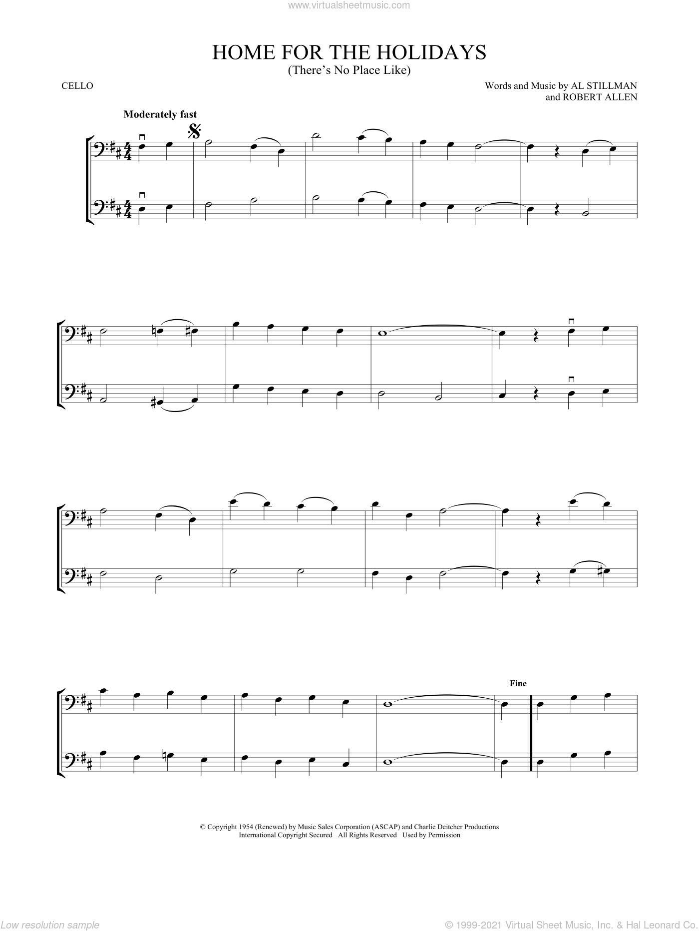 (There's No Place Like) Home For The Holidays sheet music for two cellos (duet, duets) by Perry Como, Al Stillman and Robert Allen, intermediate skill level